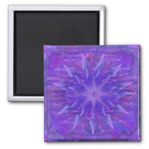 Purple Star Mandala Fridge Magnets