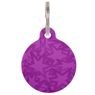 Purple Star Pattern Pet Tags