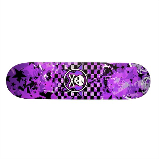 Purple Star Skull Skateboard