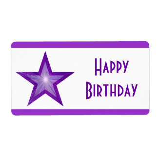 Purple Star stripe 'Happy Birthday' large white Shipping Label