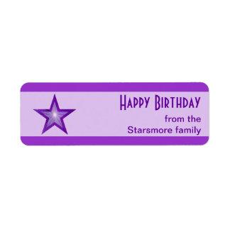 Purple Star stripe Happy Birthday text purple Return Address Label