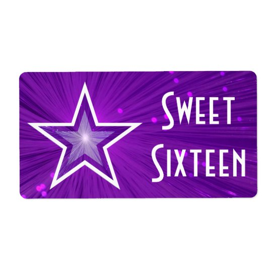 Purple Star Sweet Sixteen label large white text Shipping Label