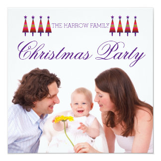 Purple Star Tree Family Christmas Party Invitation