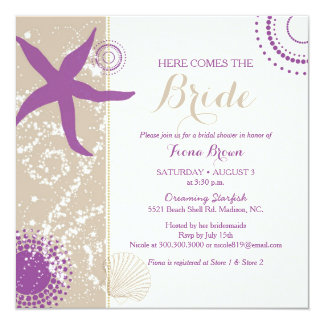 "Purple Starfish Beach Bridal Shower 5.25"" Square Invitation Card"