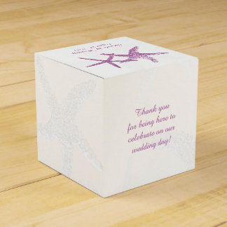 Purple Starfish on White Beach Wedding Favor Box