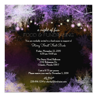 """Purple Starry Forest Charity Fundraising 5.25"""" Square Invitation Card"""