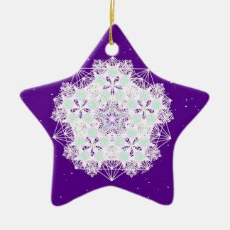 Purple Starry Night Ceramic Ornament