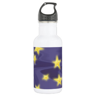 Purple Starry Night; Yellow Stars Pattern 532 Ml Water Bottle