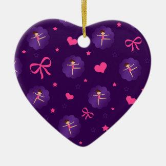 Purple stars hearts bows purple scallop gymnast ceramic ornament