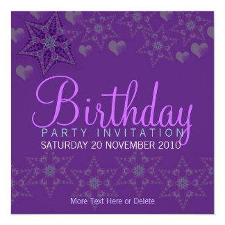 Purple Stars Hearts Party Birthday Invitation