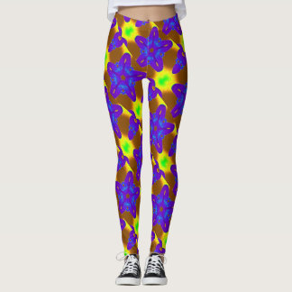 purple stars multi-color leggings