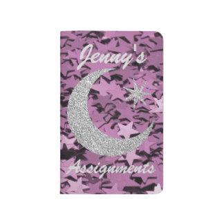 Purple Stars & Silver Moon & Stars Journal