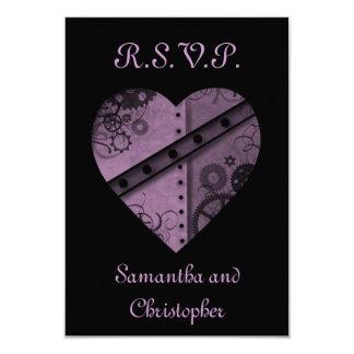 "Purple steampunk gears heart RSVP wedding 3.5"" X 5"" Invitation Card"