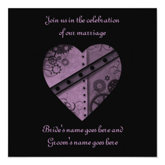 "Purple steampunk gears heart wedding 5.5"" x 5.5"" 5.25"" square invitation card"