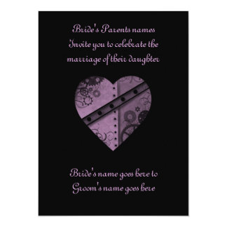 "Purple steampunk gears heart wedding 5.5"" x 7.5"" 5.5"" x 7.5"" invitation card"