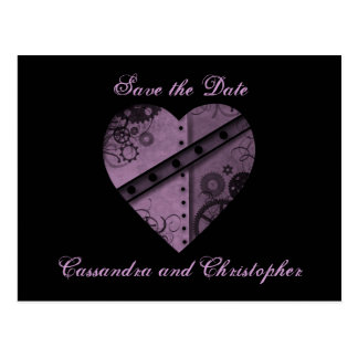 Purple steampunk heart save the date wedding postcard