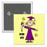Purple Stick Figure Girl Graduate 2 Inch Square Button