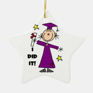 Purple Stick Figure Girl Graduate Ceramic Ornament