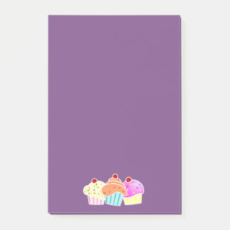 Purple Sticky Note with 3 Cupcakes