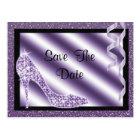 Purple Stiletto & Streamers Sweet 16 Save The Date Postcard