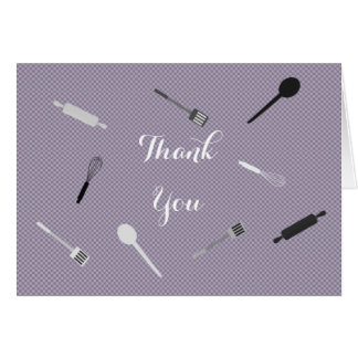 Purple stock the kitchen Bridal shower Thank You Card