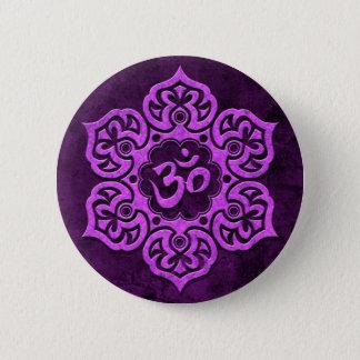 Purple Stone Floral Om 2 Inch Round Button