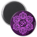 Purple Stone Floral Om 2 Inch Round Magnet