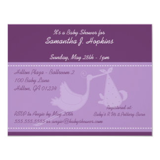 Purple Stork Baby Shower Invitation Cards