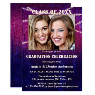 Purple String Lights Photo Graduation Invitation