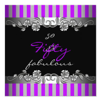 Purple Stripe 50 & Fabulous 50th Birthday Party Card