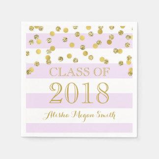 Purple Stripe Gold Confetti  2018 Graduation Disposable Napkins