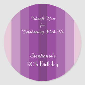Purple Stripe Thank You Sticker, Personalize Round Sticker