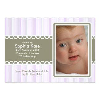 Purple Striped Birth Announcement