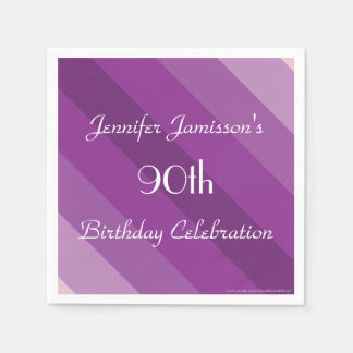 Purple Striped Paper Napkins, 90th Birthday Party Disposable Napkins