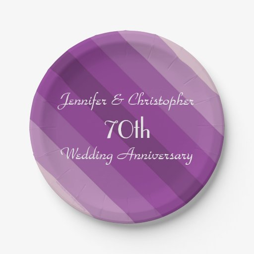 Purple Striped Plates 70th Wedding Anniversary 7 Inch Paper Plate Zazzle