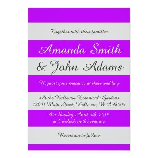 Purple Striped Wedding Invitation