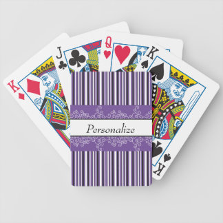 Purple Stripes and Curls Bicycle Playing Cards