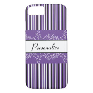 Purple Stripes and Curls iPhone 8/7 Case