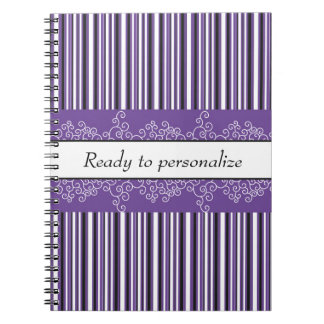 Purple Stripes and Curls Notebooks