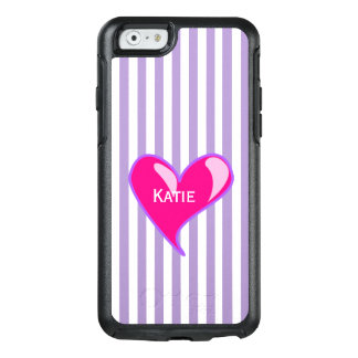 Purple Stripes and Pink Heart iPhone 6S Case
