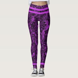 Purple Stripes and Stars Leggings
