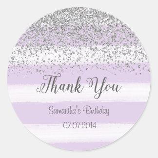 Purple Stripes Birthday Sticker
