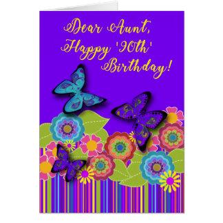 Purple, Stripes, Flowers, Butterflies | 90th Aunt Card
