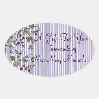 Purple Stripes & Flowers Homemade Oval Sticker
