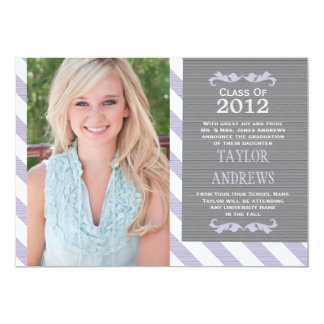Purple Stripes Graduation Photo Invitation Announc