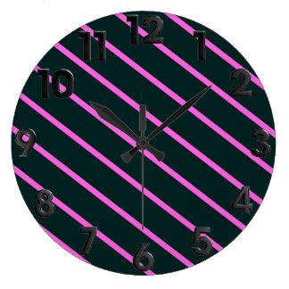 Purple stripes large clock