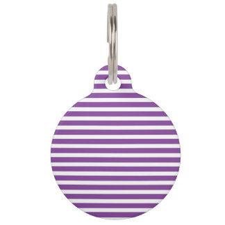 Purple Stripes Pet Name Tags