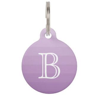 Purple Stripes Shades Monogram Initial Simple Pet Tag