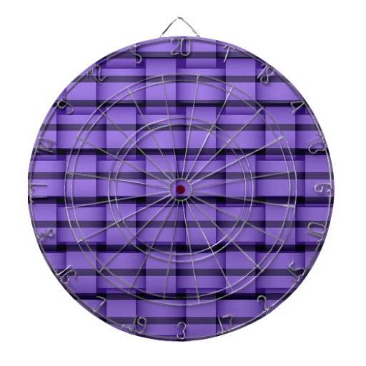 Purple stripes wicker art graphic design dartboard with darts