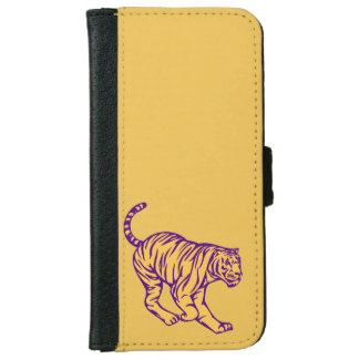 Purple Stripes Wild Cat Tiger Illustration iPhone 6 Wallet Case